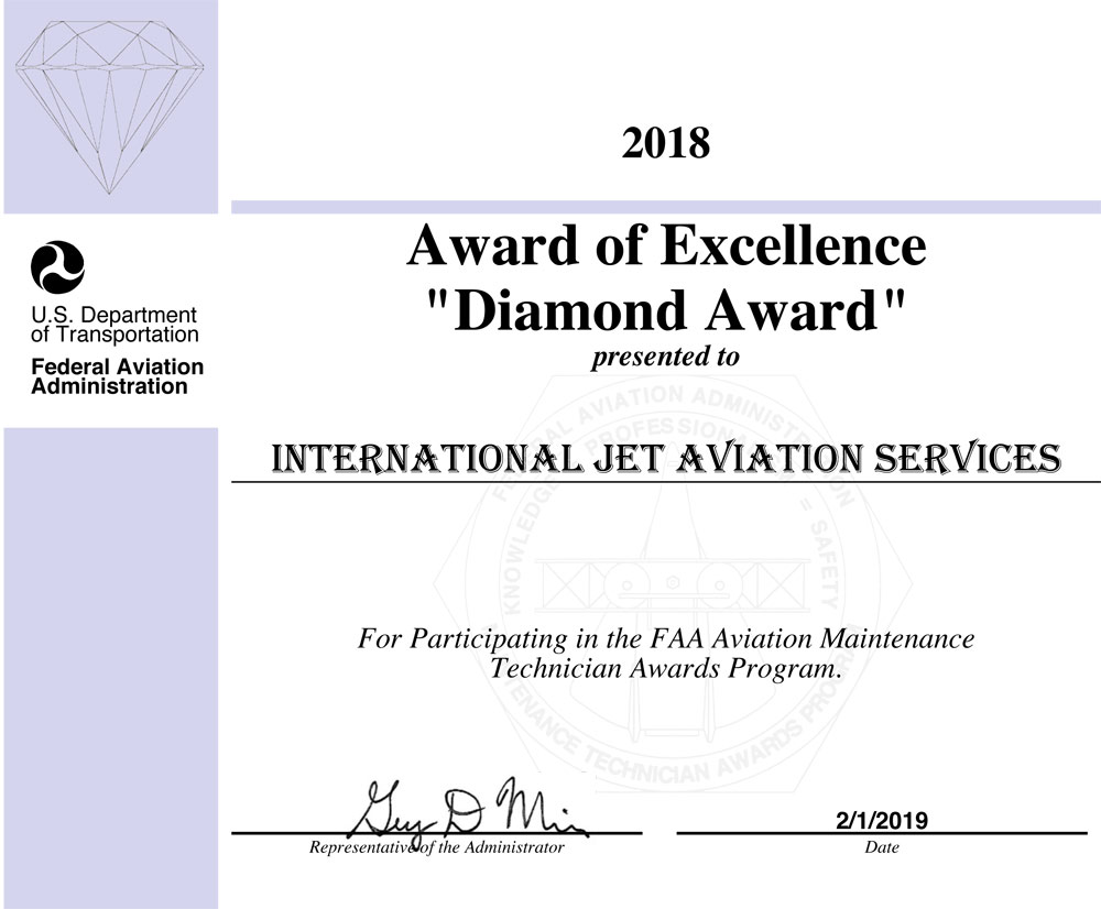 FAA Diamond Award of Excellence 2018